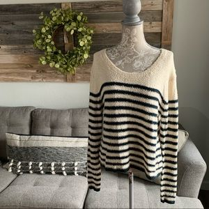 BP Striped Boucle Knit Crop Pullover Sweater